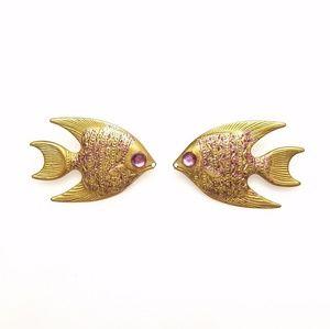 Vtg Lightweight Brass Fish w/ Purple Eye Earrings